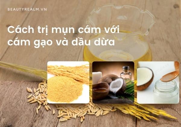 Cách trị mụn cám với cám gạo và dầu dừa