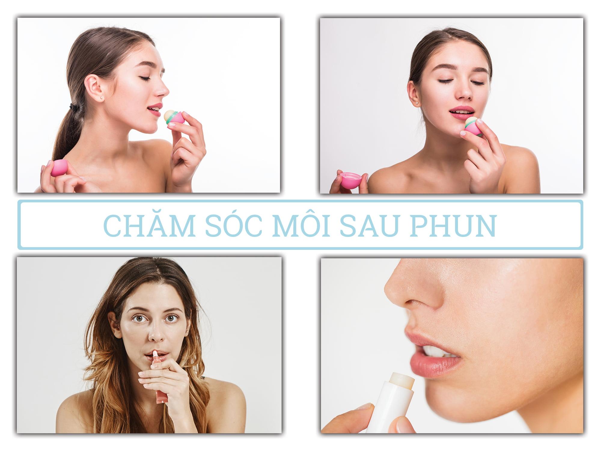Chăm sóc môi sau phun
