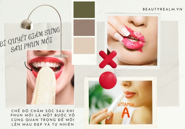 Bí quyết giảm sưng sau phun môi